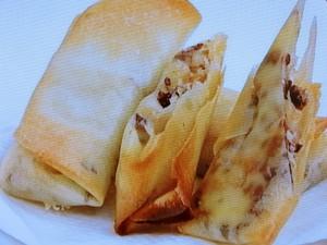 カカオニブとチーズの簡単春巻き