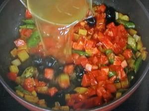 たこと夏野菜のカレー風味