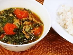モロヘイヤと豚肉のスープカレー