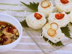 豚肉とオクラの温つゆつけ麺