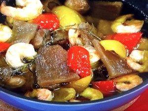 干しいもとエビのオリーブオイル煮