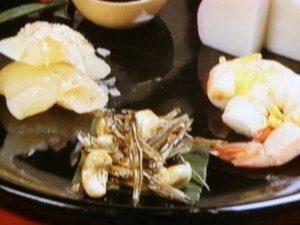 祝い肴「カシューナッツ田作り・翁えび・かずのこ」