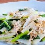 豚バラ肉、長芋、青菜の塩炒め