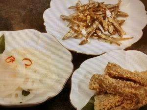 祝い肴3種(田作り・たたきごぼう・酢れんこん)