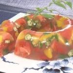 トマトとパプリカの寒天寄せ